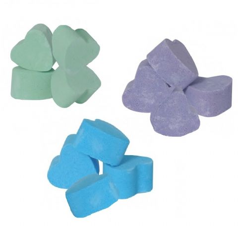 12 x Jasmine, Passion Fruit & Seakay Mini Bath Hearts Fizzers - Bath Bubble & Beyond 10g Each